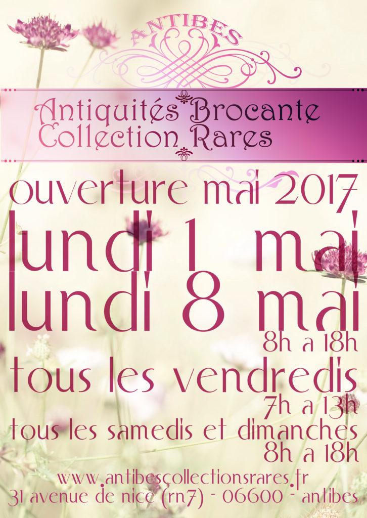 Antiquites Brocante Collections Rares Flyer Mai 2017